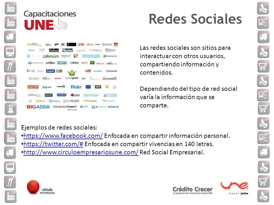 Las redes sociales son sitios para interactuar con otros usuarios, compartiendo información y contenidos. Dependiendo del tipo de red social varía la
