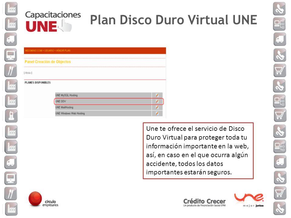 Une te ofrece el servicio de Disco Duro Virtual para proteger toda tu información importante en la web, así, en caso en el que ocurra algún accidente,
