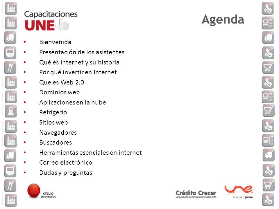 Bienvenida Presentación de los asistentes Qué es Internet y su historia Por qué invertir en Internet Que es Web 2.0 Dominios web Aplicaciones en la nu