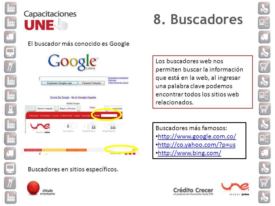 Los buscadores web nos permiten buscar la información que está en la web, al ingresar una palabra clave podemos encontrar todos los sitios web relacio
