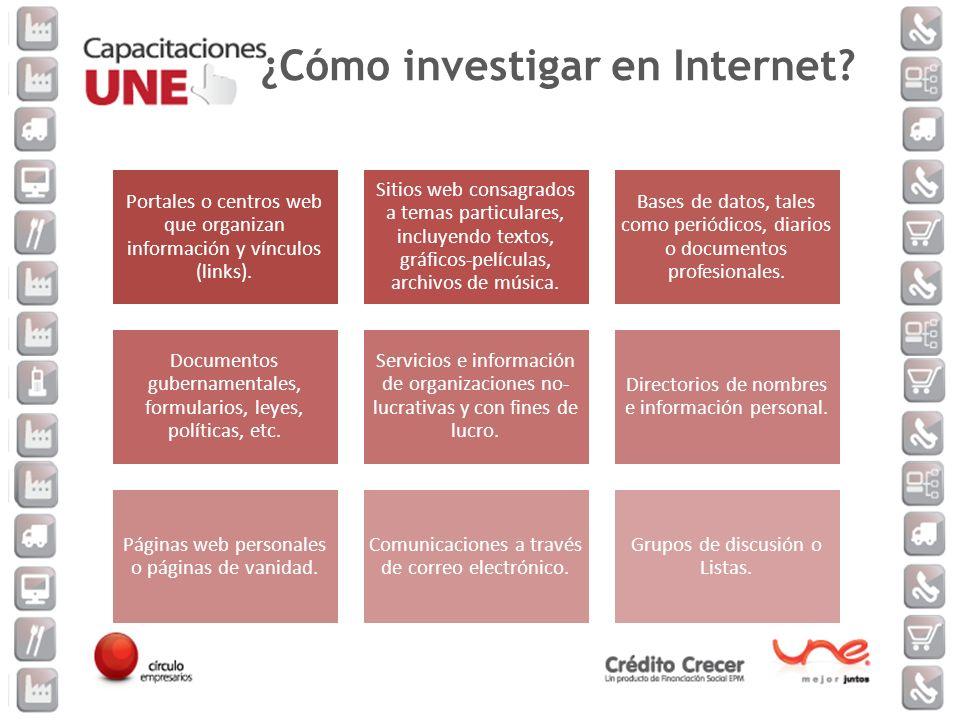Portales o centros web que organizan información y vínculos (links). Sitios web consagrados a temas particulares, incluyendo textos, gráficos-película