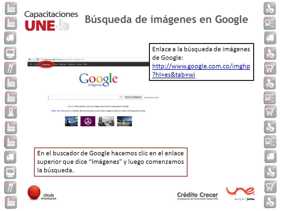 En el buscador de Google hacemos clic en el enlace superior que dice Imágenes y luego comenzamos la búsqueda. Enlace a la búsqueda de imágenes de Goog