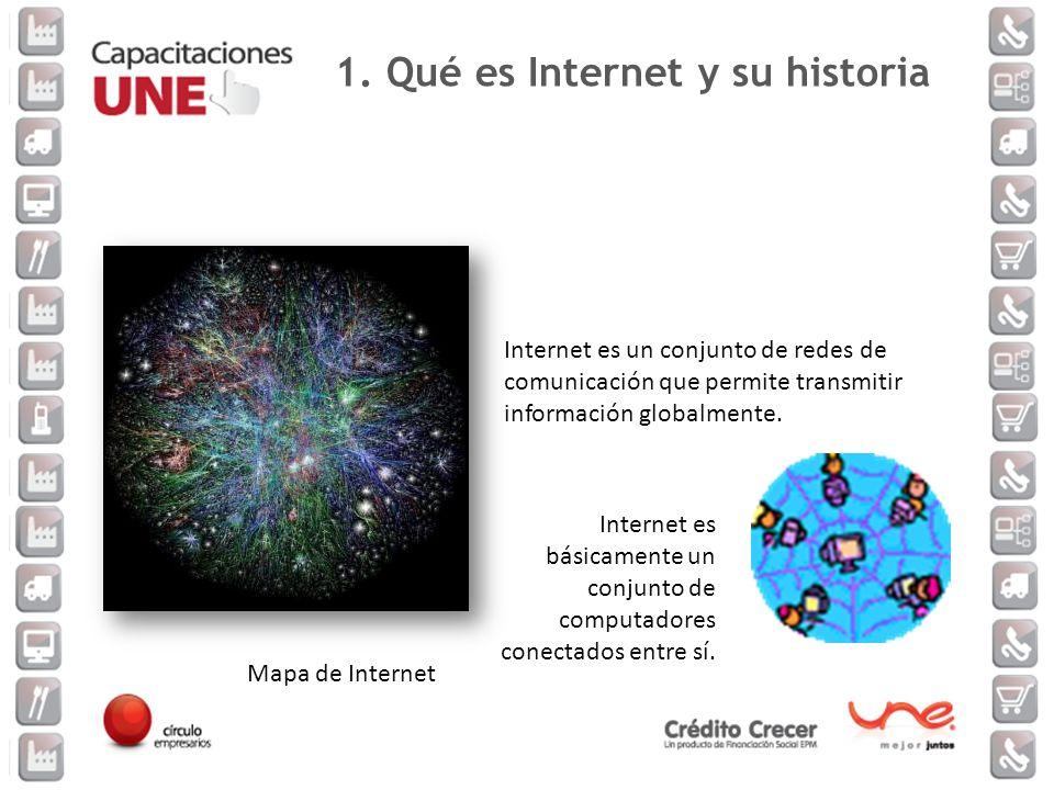 Mapa de Internet Internet es un conjunto de redes de comunicación que permite transmitir información globalmente. Internet es básicamente un conjunto