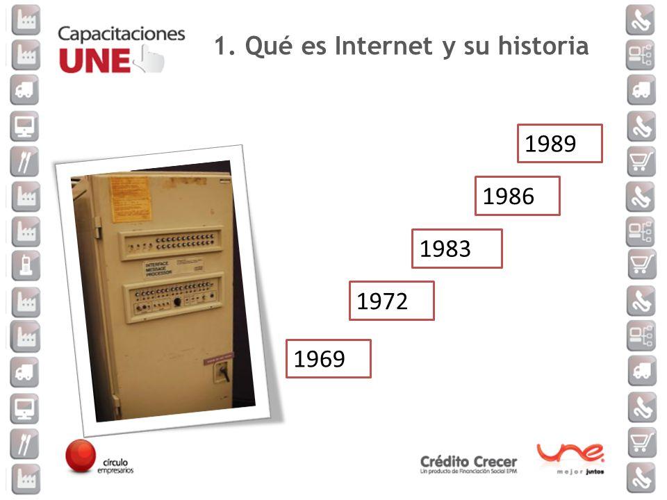 1969 1972 1983 1986 1989 1. Qué es Internet y su historia