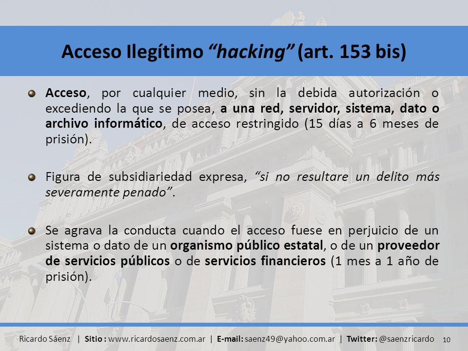 Acceso, por cualquier medio, sin la debida autorización o excediendo la que se posea, a una red, servidor, sistema, dato o archivo informático, de acceso restringido (15 días a 6 meses de prisión).