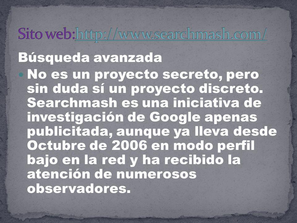 Búsqueda avanzada No es un proyecto secreto, pero sin duda sí un proyecto discreto.