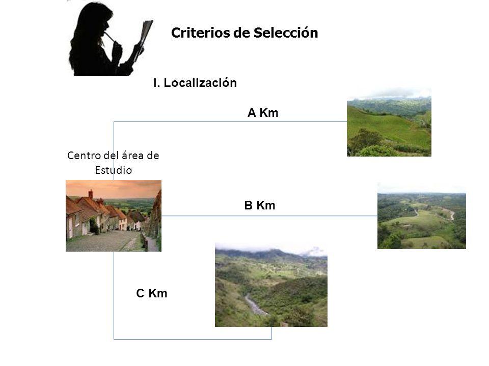 I. Localización A Km B Km C Km Centro del área de Estudio Criterios de Selección