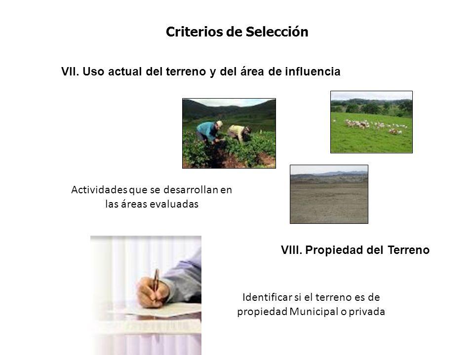VII. Uso actual del terreno y del área de influencia VIII. Propiedad del Terreno Actividades que se desarrollan en las áreas evaluadas Identificar si