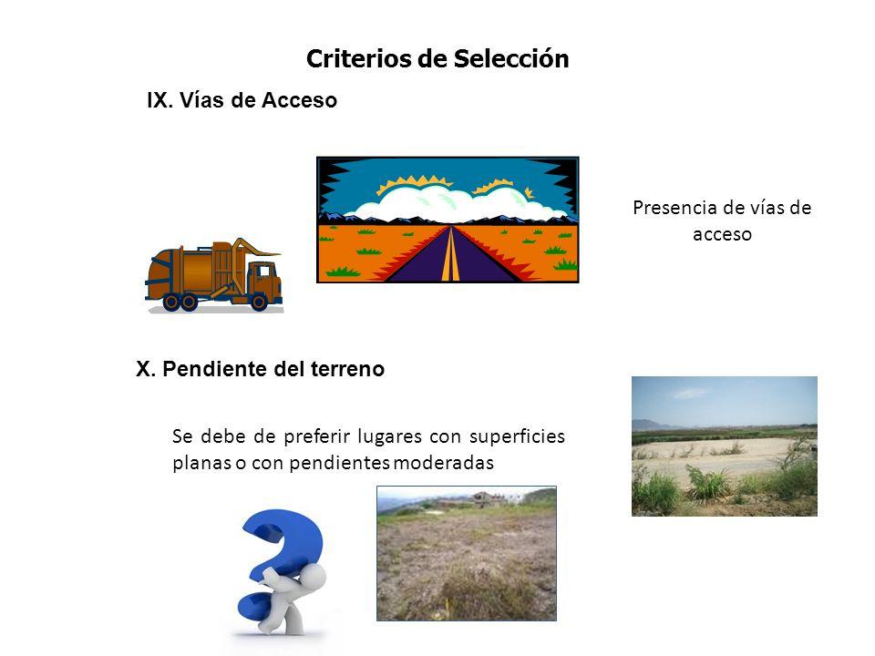 IX. Vías de Acceso Presencia de vías de acceso X. Pendiente del terreno Se debe de preferir lugares con superficies planas o con pendientes moderadas