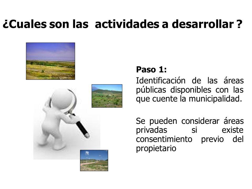 ¿Cuales son las actividades a desarrollar ? Paso 1: Identificación de las áreas públicas disponibles con las que cuente la municipalidad. Se pueden co