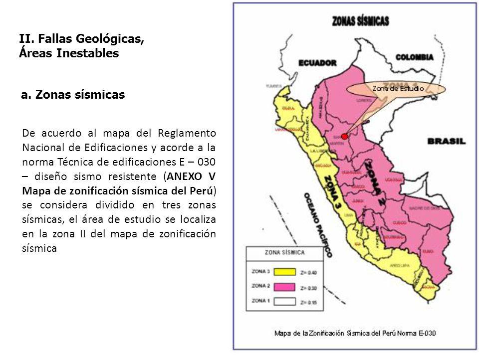 II. Fallas Geológicas, Áreas Inestables a. Zonas sísmicas De acuerdo al mapa del Reglamento Nacional de Edificaciones y acorde a la norma Técnica de e
