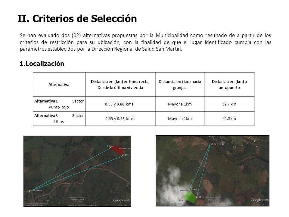 II. Criterios de Selección Se han evaluado dos (02) alternativas propuestas por la Municipalidad como resultado de a partir de los criterios de restri