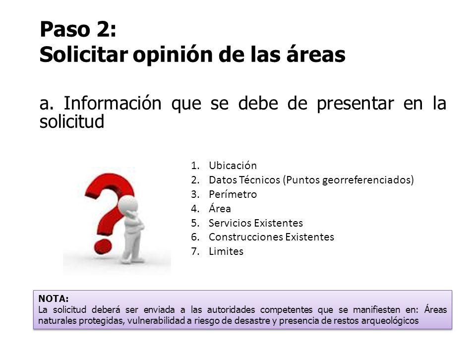 Paso 2: Solicitar opinión de las áreas a. Información que se debe de presentar en la solicitud 1.Ubicación 2.Datos Técnicos (Puntos georreferenciados)