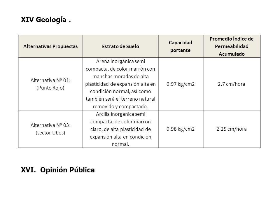 XIV Geología. Alternativas PropuestasEstrato de Suelo Capacidad portante Promedio Índice de Permeabilidad Acumulado Alternativa Nº 01: (Punto Rojo) Ar