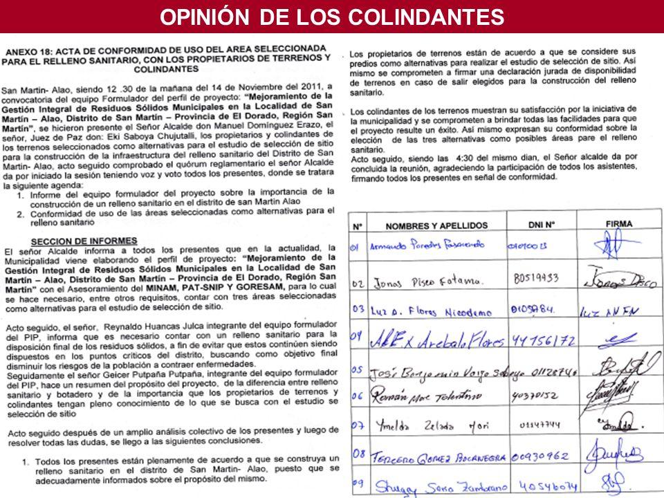 OPINIÓN DE LOS COLINDANTES