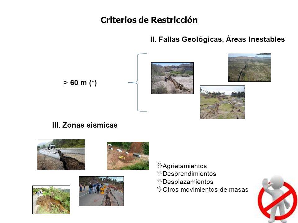 II. Fallas Geológicas, Áreas Inestables > 60 m (*) III. Zonas sísmicas Agrietamientos Desprendimientos Desplazamientos Otros movimientos de masas Crit