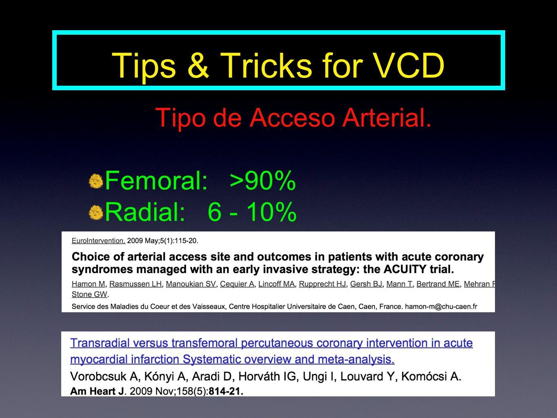 Tipo de Acceso Arterial. Femoral: >90% Radial: 6 - 10%