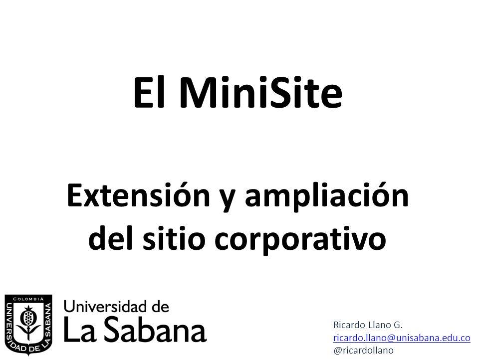El MiniSite Extensión y ampliación del sitio corporativo Ricardo Llano G.