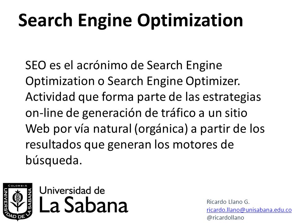 Search Engine Optimization Ricardo Llano G.