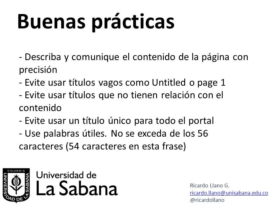 Buenas prácticas Ricardo Llano G.