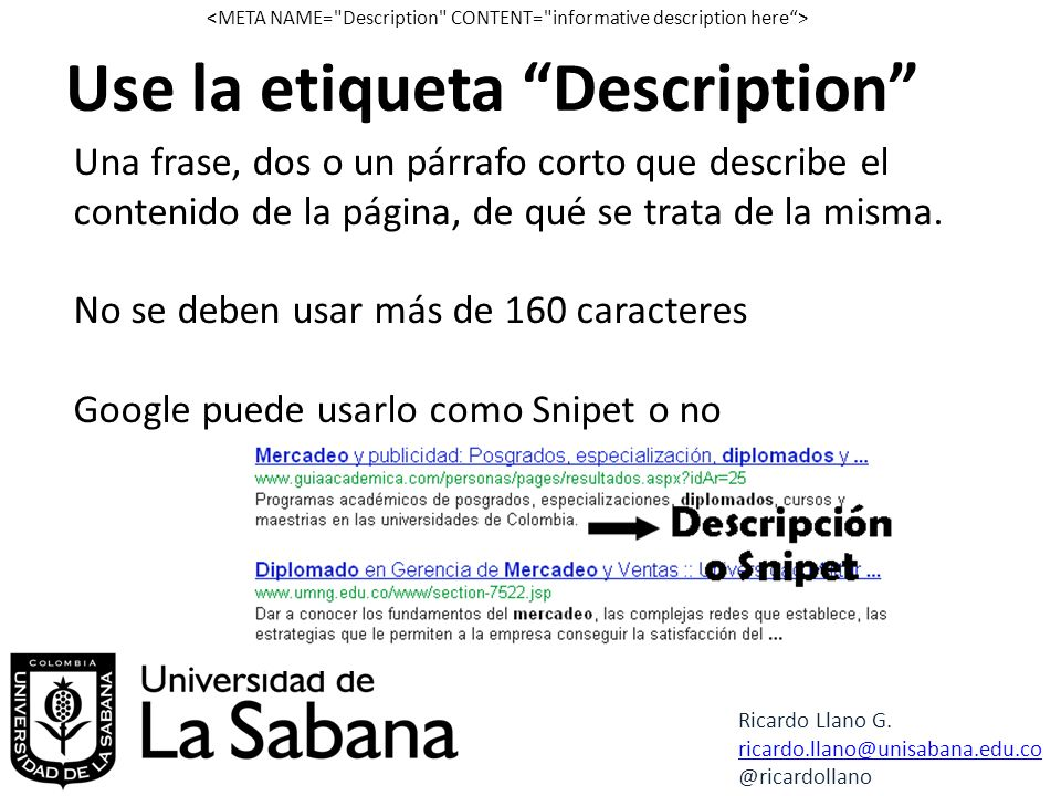 Use la etiqueta Description Ricardo Llano G.