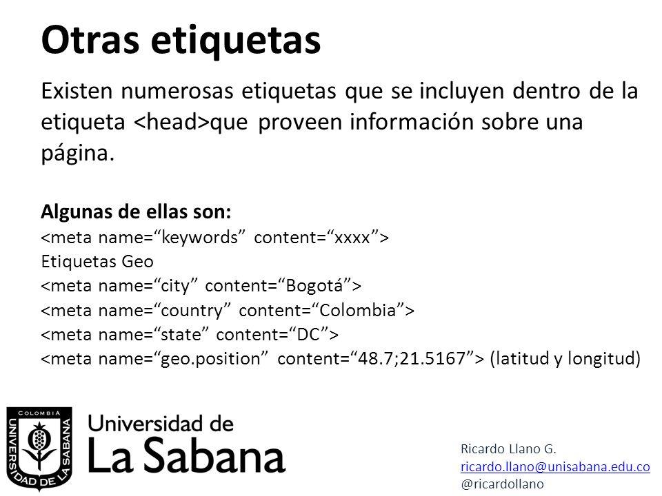 Otras etiquetas Ricardo Llano G.