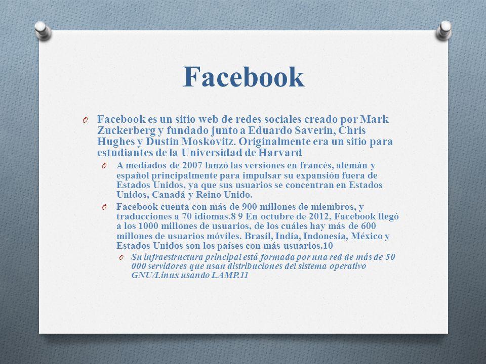 O Facebook es un sitio web de redes sociales creado por Mark Zuckerberg y fundado junto a Eduardo Saverin, Chris Hughes y Dustin Moskovitz. Originalme