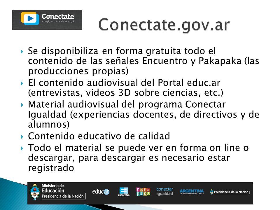 Se disponibiliza en forma gratuita todo el contenido de las señales Encuentro y Pakapaka (las producciones propias) El contenido audiovisual del Porta