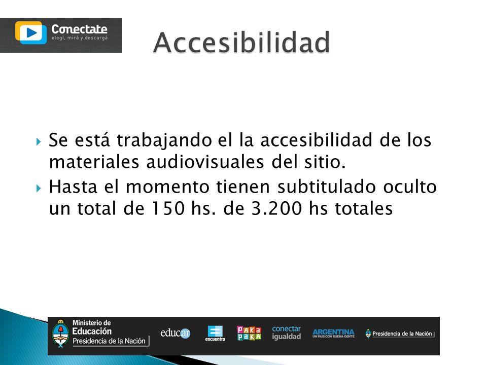 Se está trabajando el la accesibilidad de los materiales audiovisuales del sitio. Hasta el momento tienen subtitulado oculto un total de 150 hs. de 3.