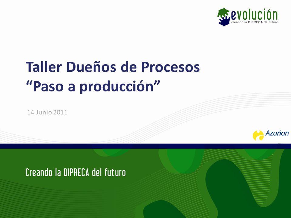 Taller Dueños de Procesos Paso a producción 14 Junio 2011