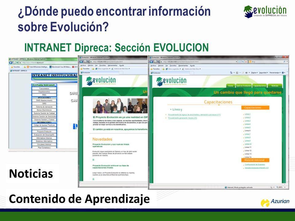 ¿Dónde puedo encontrar información sobre Evolución? INTRANET Dipreca: Sección EVOLUCION Noticias Contenido de Aprendizaje
