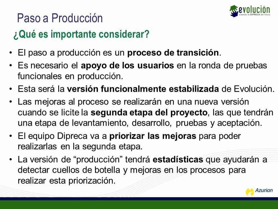 Paso a Producción ¿Qué es importante considerar? El paso a producción es un proceso de transición. Es necesario el apoyo de los usuarios en la ronda d