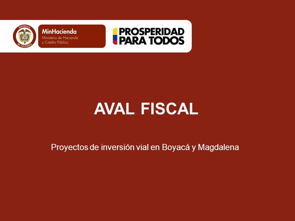 AVAL FISCAL Proyectos de inversión vial en Boyacá y Magdalena