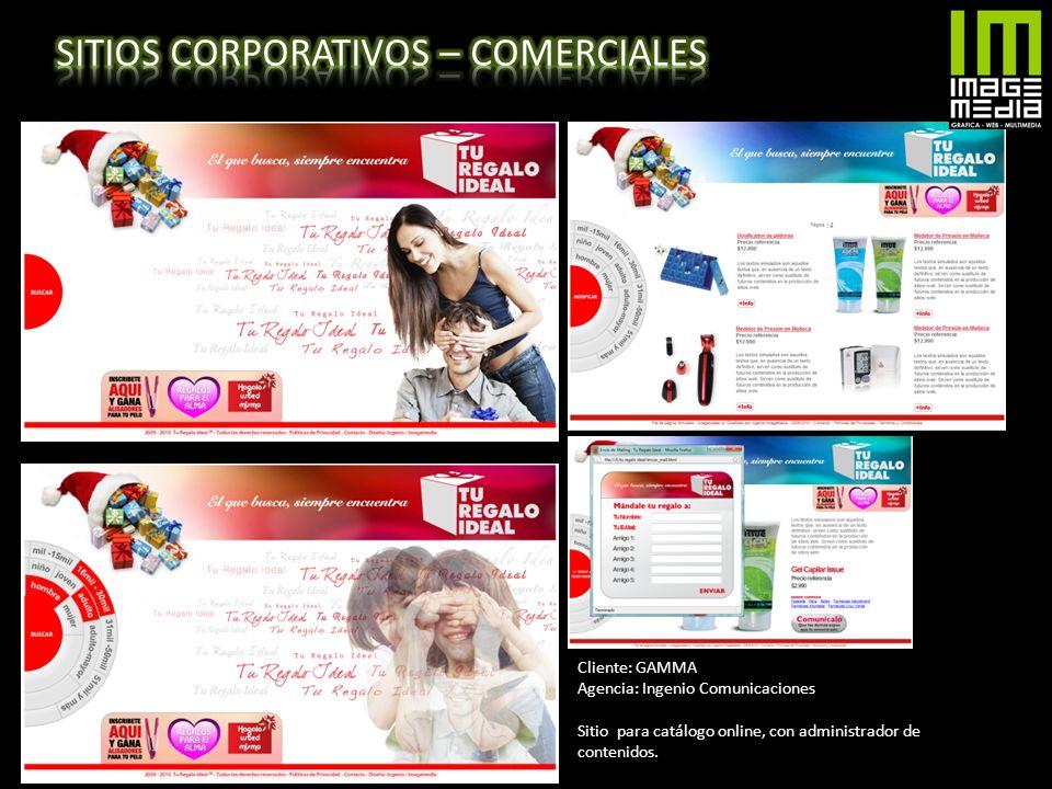 Cliente: GAMMA Agencia: Ingenio Comunicaciones Sitio para catálogo online, con administrador de contenidos.