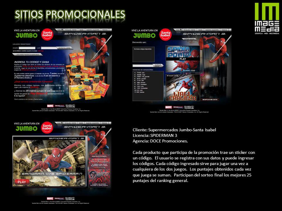 Cliente: Supermercados Jumbo-Santa Isabel Licencia: SPIDERMAN 3 Agencia: DOCE Promociones. Cada producto que participa de la promoción trae un sticker