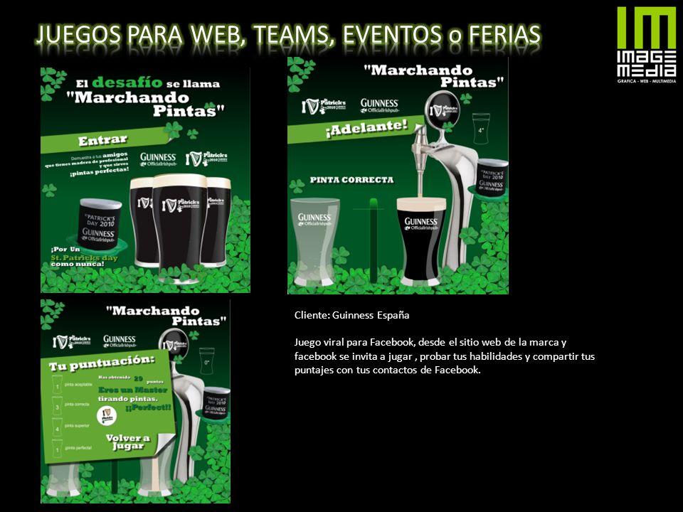 Cliente: Guinness España Juego viral para Facebook, desde el sitio web de la marca y facebook se invita a jugar, probar tus habilidades y compartir tu