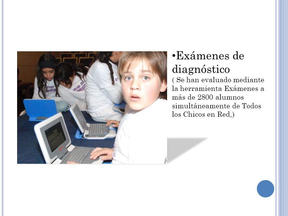 Exámenes de diagnóstico ( Se han evaluado mediante la herramienta Exámenes a más de 2800 alumnos simultáneamente de Todos los Chicos en Red,)