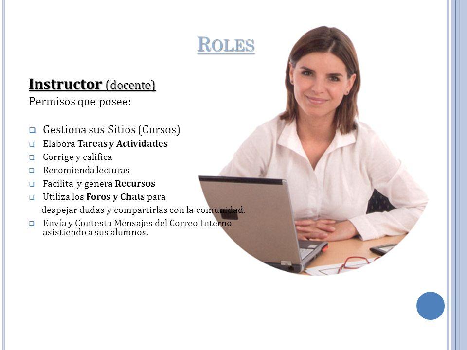 R OLES Instructor (docente) Permisos que posee: Gestiona sus Sitios (Cursos) Elabora Tareas y Actividades Corrige y califica Recomienda lecturas Facil