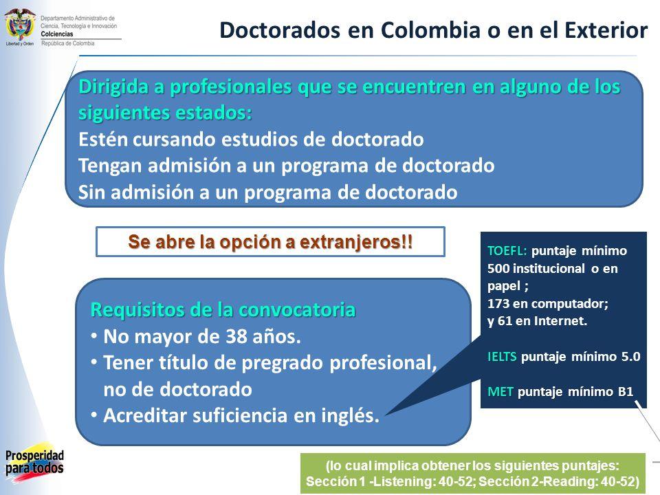 Doctorados en Colombia Matrícula Sostenimiento mensual hasta por 60 meses (6 smmlv) Presentación y defensa de tesis ($2.000.000) mensual pasantía Sostenimiento mensual pasantía (US$1.600) Seguro médicoPasantía (US$400) Tiquetes aéreosPasantía RUBROS QUE SE CUBREN