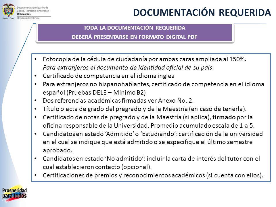 DOCUMENTACIÓN REQUERIDA Fotocopia de la cédula de ciudadanía por ambas caras ampliada al 150%.