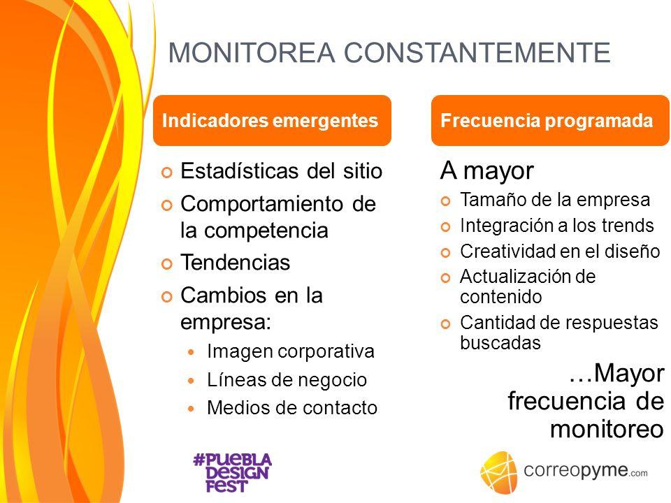 MONITOREA CONSTANTEMENTE Estadísticas del sitio Comportamiento de la competencia Tendencias Cambios en la empresa: Imagen corporativa Líneas de negoci