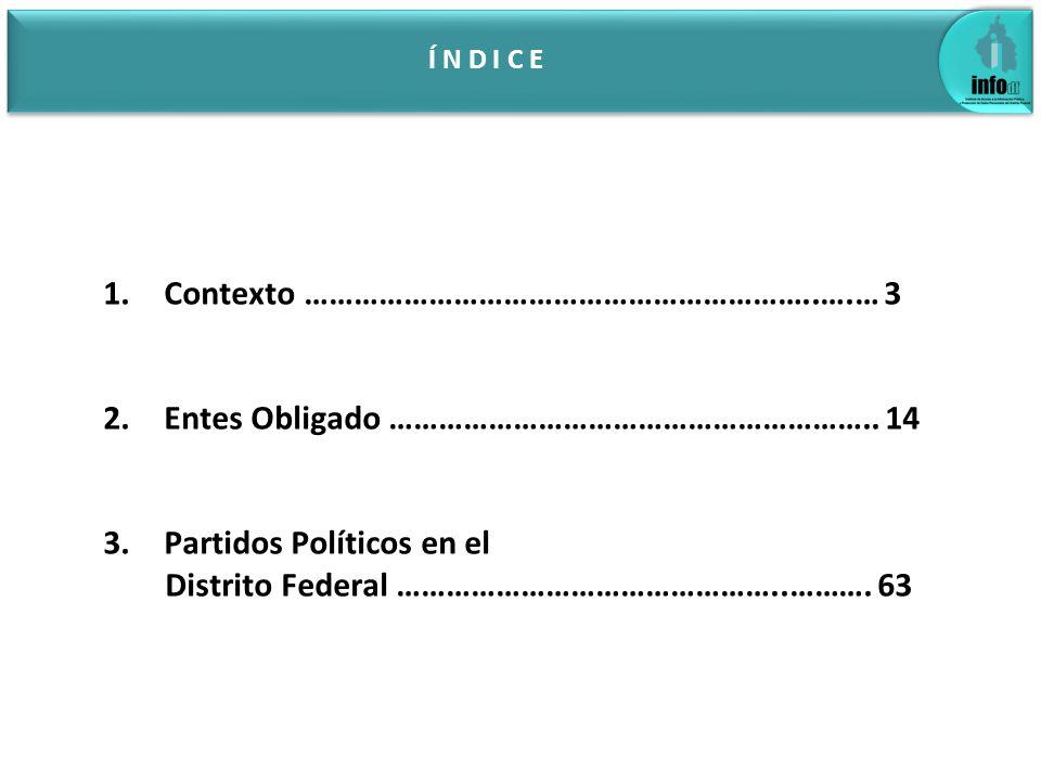 Í N D I C E 1.Contexto ……………………………………………………..….… 3 2.Entes Obligado ………………………………………………….. 14 3.Partidos Políticos en el Distrito Federal …………………………………