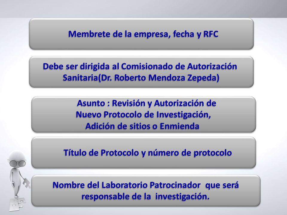 Debe ser dirigida al Comisionado de Autorización Sanitaria(Dr. Roberto Mendoza Zepeda) Debe ser dirigida al Comisionado de Autorización Sanitaria(Dr.