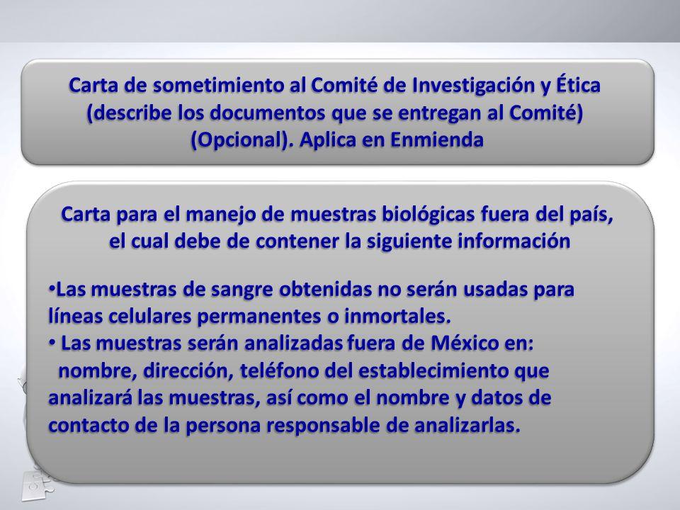 Carta de sometimiento al Comité de Investigación y Ética (describe los documentos que se entregan al Comité) (Opcional). Aplica en Enmienda Carta de s