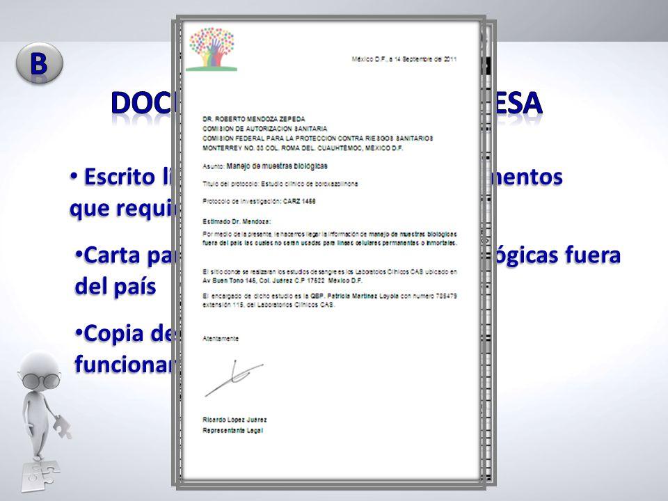 Carta para el manejo de muestras biológicas fuera del país Carta para el manejo de muestras biológicas fuera del país Escrito libre que especifique lo