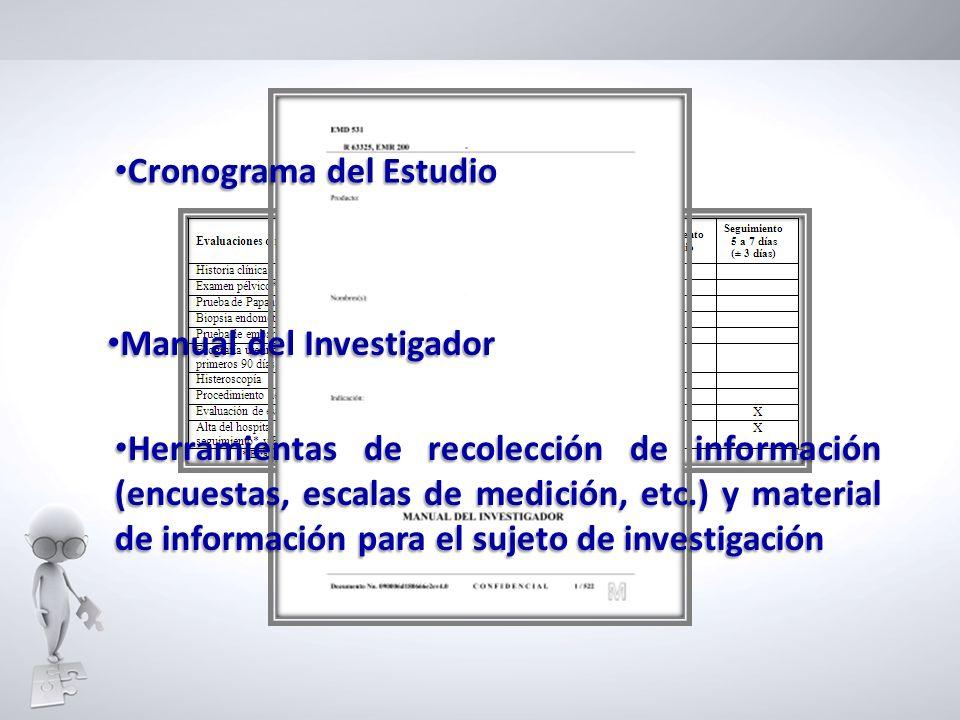 Cronograma del Estudio Cronograma del Estudio Herramientas de recolección de información (encuestas, escalas de medición, etc.) y material de informac
