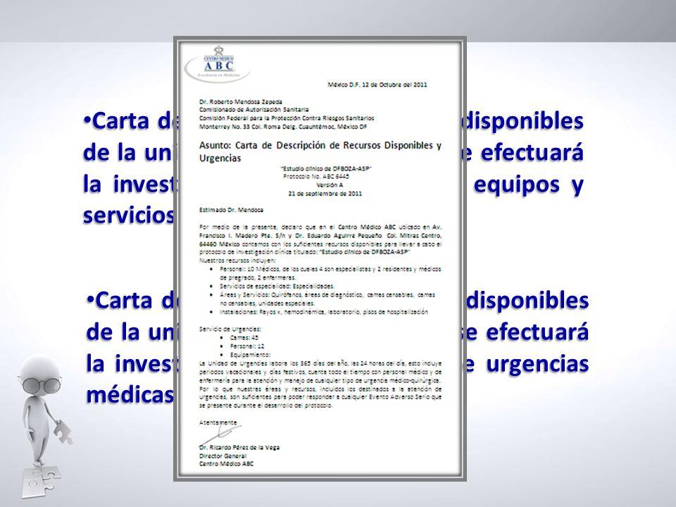 Carta de descripción de recursos disponibles de la unidad o institución donde se efectuará la investigación incluyendo áreas, equipos y servicios auxi