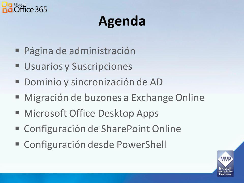 Agenda Página de administración Usuarios y Suscripciones Dominio y sincronización de AD Migración de buzones a Exchange Online Microsoft Office Deskto