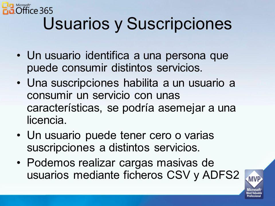 Usuarios y Suscripciones Un usuario identifica a una persona que puede consumir distintos servicios. Una suscripciones habilita a un usuario a consumi