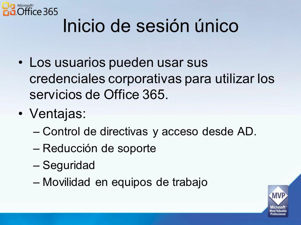 Inicio de sesión único Los usuarios pueden usar sus credenciales corporativas para utilizar los servicios de Office 365. Ventajas: –Control de directi